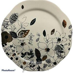 LAUREN WAN Anthropologie Vine Floral Dinner Plate Gold Blue Metallic