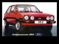 FORD FIESTA MKI XR2 SUNBURST RED POSTER PRINT CLASSIC 80's ADVERT A3