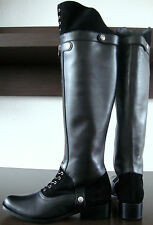HUNTER WARDOUR Kniehöhe Stiefel Leder Damen Boots Schaftstiefel Schwarz Gr38 NEU