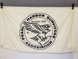 Vintage 3' x 5' Pearl Harbor Survivors Association Flag WWII WW2 Military Navy