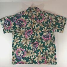 Kula Bay Tropical Clothing Company Hawaiian Aloha Shirt Guitar Drum Floral Sz L