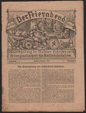WOLFEN, Der Feierabend 10/1922, Fabrik-Zeitung der Wolfener Fabriken der Agfa