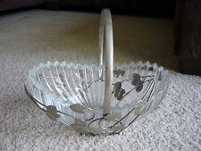 DECORATIVE VINTAGE GLASS BOWL WITH LEAF DESIGN METAL BASKET/ ENGLAND