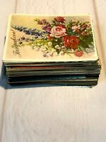 1950-80s Flowers Greeting Card Postcards 100+ pcs Posted Vintage Postcards set