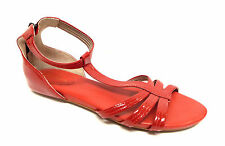 New COLE HAAN Size 9.5 Red Patent Ankle Strap Back Zip Sandals Shoes 9 1/2