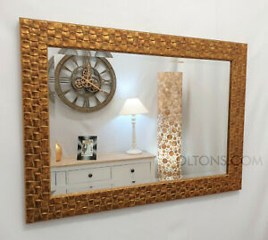 John Lewis Antique Gold Mosaic Wall Mirror Wood Frame Bevelled 132x76cm