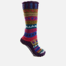 Tibetan Socks Hand Knit Wool Fleece Lined Long Slipper Socks Pink  XS
