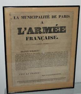rare affiche de insurrection de paris en 1832 signé général lafayette