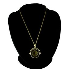 """Pendant with 18"""" Chain Necklace$179 Hsn Bellezza Lira Coin Flip"""