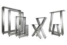 Tischbeine Edelstahl gebürstet X U Trapez Tischkufen Tisch Gestell Set