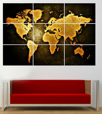 Vintage Rusty World Map Poster Giant Print Huge Large Art 260gsm