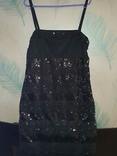 "BNWT MNG ""MANGO"" BLACK SEQUIN AND LACE COCKTAIL DRESS"