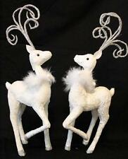 "Reindeer Statue Deer Statue Christmas New Set of 2 White Silver Swirl 17.5"" Raz"