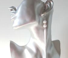 Pretty white & silver tone diamante long spike drop earrings  *NEW* UK seller #6