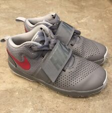 Nike Basketball Tennis Shoes,Team Hustle, size 2y, gray with Pink Swoosh