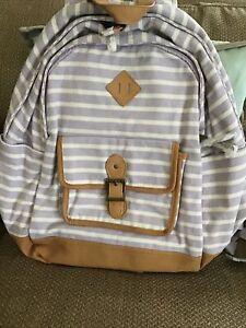 "Pottery Barn Teen/ Northfield Lavender stripe Backpack  XL 18"" lavender/whiteNWT"