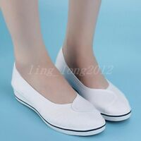 New Ladies Wedge Heels Canvas Sneaker Dancing Mary Jane Slip On Casual Shoes SZ