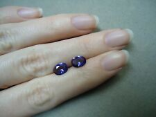 2 Matched AAA Vibrant Purple Amethyst Oval Faceted Gemstones 8x6mm 2.0 Cts