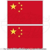 """CHINA Chinese Flag PRC Beijing Vinyl Bumper Stickers-Decals 4"""" (100mm) x2"""