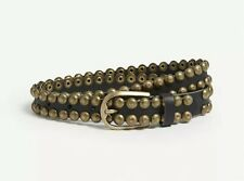 ZADIG & VOLTAIRE Sea Studded Leather Belt Black Cowhide Brass-toned Hardware sz1