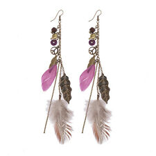 Women's Vintage Bohemian Boho Style Purple Beads&Feathers Drop/Dangle Earrings