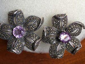 Judith Jack Vintage Earrings Amethyst Flower Marcasite Sterling Large Omega Back