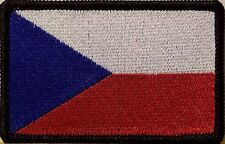 Czech Republic Flag Iron-On Patch Tactical Morale Emblem Black Border