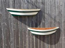 "2 NEW GREEN FLOWER PLANTERS BOAT STYLE WOOD 29"" LONG PLANT HOLDERS WALL POCKETS"