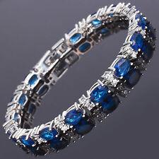Schmuck Jewelry Oval Cut Blue Fine Topaz White Gold Plated Tennis Bracelet