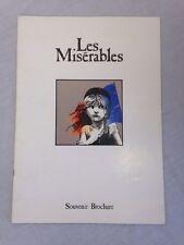 Vintage 1986 Les Miserables Souvenir Theatre Brochure and Synopsis