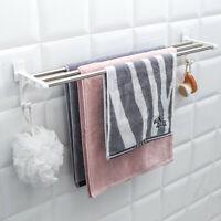 Double Chrome Wall Mounted Bathroom Towel Rail Holder Shelf Storage Rack Shelves