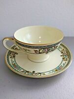 Vintage Cup and Saucer by Hutschenreuther Crown Lion Ivory China SELB Bavaria