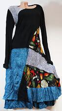 Wolle Kleid Tunika im Lagen Bunt Patchwork ca 44 46 48 ?? L XL Wollkleid Italy