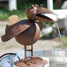 Wasserspeier Paul Wasserspiel Teichfigur Vogel Garten Pumpe Miniteich Rabe