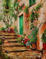 YARY DLUHOS old Italy village alley green doorway flower Original Oil Painting -