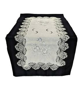 Doily Boutique Table Runner or Doily with Silver Gray Roses with Lace and Fabric