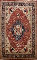 Vegetable Dye Geometric Heriz Oriental Rug Hand-Knotted Palace Living Room 10x15