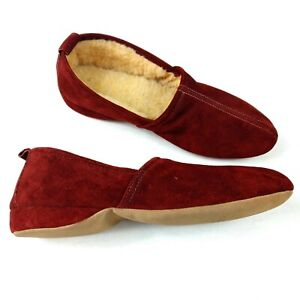 Antique Winchester Closed Back House Slippers Maroon Suede Shearling lined Sz 9