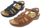 Ladies Shoes Leather Sandals Borelli Janet Black or Tan TBar Buckle Up Size 7-9