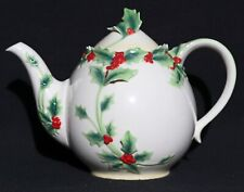 FRANZ FZ00398 FINE PORCELAIN HOLLY BERRIES RED and GREEN TEAPOT w/LID