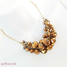 """Sparkly Brown Glass Crystal Bead Chain Statement Choker Necklace 40.5cm 16""""[1768"""