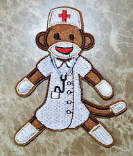NURSE Sock Monkey Embroidered Applique Iron On Patch Cloth