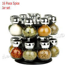 16 SPICE GLASS JAR RACK BLACK HOMEWARE MODERN REVOLVING KITCHEN