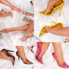 Womens Ladies Stiletto High Heels  Perspex Clear Court Shoes Kim K Pumps