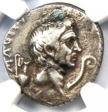 Roman Pompey Magnus AR Denarius Silver Coin 42 BC - Certified NGC VF (Plugged)