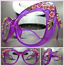 New OVERSIZED RETRO Style Clear Lens EYE GLASSES Purple Frame Gold & Pink Floral