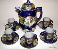 Antique Nippon Cobalt Blue w/ Gilt Hand Painted Decoration Coffee Chocolate Set