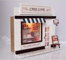 Dollhouse Miniature DIY Kit Cake Love Bakery Bread Store Shop Model w/ Light NIB