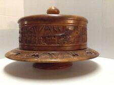 Wood Cake Dome Platter Hand Carved Lazy Susan Lid Cake Cover Vintage