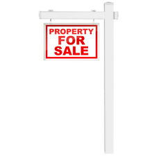 6' Upvc Real Estate Sign Post Open House Yard Home for Sale with Stake White